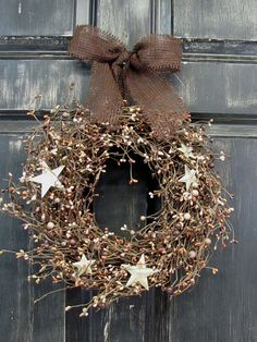 Pantry Door Wreath - Mixed Brown Berry & Ivory Star Candle Ring - Fall Decor - BURLAP BOW - Summer Wreath - Primitive Wreath - Country Home on Etsy, $33.95