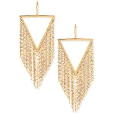 Lana 14K Gold Triangle Fringe Earrings ($3,295) ❤ liked on Polyvore featuring jewelry, earrings, gold, taper earrings, lana earrings, gold triangle earrings, gold jewelry and 14 karat gold earrings