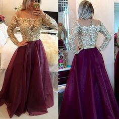 Chic Off the shoulder Grape Prom Dress, Two toned Prom Dresses, Long Sleeves Lace Prom Dresses, #020101877