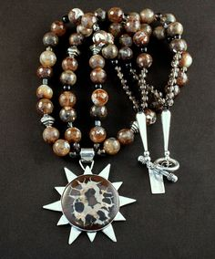 Septarian Nodule and Sterling Silver Star Pendant with 2 Strands of Brown Multi-Toned Faceted Glass, Smoky Quartz, Onyx and Sterling Silver