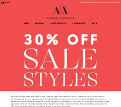 Pinned February 16th: Extra 30% off sale items at #Armani Exchange, ditto online #coupon via The #Coupons App