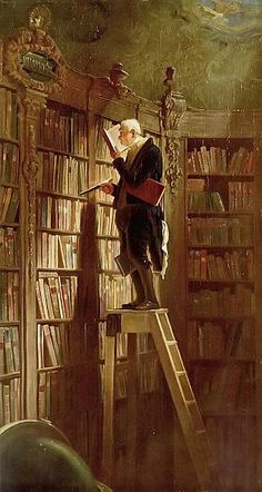 The Bookworm (German: Der Bücherwurm) is an 1850 oil-on-canvas painting by the German painter and poet Carl Spitzweg. The picture is typical of Spitzweg's humorous, anecdotal style and it is characteristic of Biedermeier art in general.[1] The painting is representative of the introspective and conservative mood in Europe during the period between the end of the Napoleonic Wars and the revolutions of 1848, but at the same time pokes fun at those attitudes (from Wikipedia)