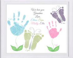 11 x 14 Blumen und Schmetterlinge - Handabdruck-Kunst von Forever Drucke. Blume von Hand Druck Kunst Mama, Oma, Muttertag. Wählen Sie Farben.