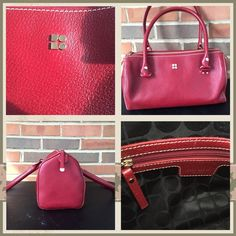 Kate Spade Red Leather Bag. Authentic and Classic Rich Red Color All Season Leather Handbag. Barely used and in New Condition.  Only wear shown is on a corner on the bottom. kate spade Bags