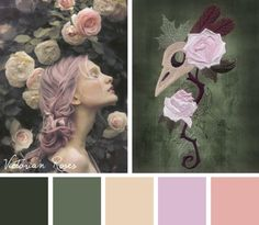 Try this delicate and subdued Victorian Roses color scheme on your embroidery designs.