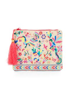 Take a trip to the topics with our Havana zip-top purse, embroidered with colorful parrots, butterflies and flowers. The tassel charm creates an eye-catching finish.