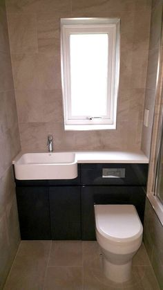 Fitted Bath with Shower and Vanity Units - Bathroom Designs - Tecaz Small Toilet Room, Toilet And Sink Unit, Small Bathroom Layout, Bathroom Units, Attic Shower, Vanity Units, Downstairs Bathroom, Cloakroom Vanity Unit, Bathroom
