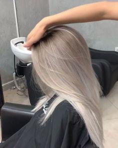 Silver Platinum Blonde Hair - Irina - # Check more at . - Silver Platinum Blonde Hair – Irina – # Check more at … - Silver Blonde Hair, Blonde Hair Looks, Silver Ombre, Pearl Blonde, Gray Hair, Ash Hair, Ash Blonde Balayage Silver, Silver Platinum Hair, Ombre Hair Brunette