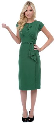 Stop Staring Green Timeless Fitted Wiggle Dress $166.00 (Plus Sizes too)  http://www.vintagedancer.com/1940s/1940s-plus-size-dresses/