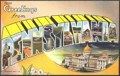 1940s Large Letter Greetings from Pennsylvania  State Vintage Postcard