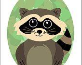 Woodland Raccoon - Print 8x10