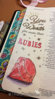Journal directly on Bible Pages! Bible Journaling Art - Tutorial & Freebie! Proverbs 31:10 ~ Tiffany Doodles Digital Stamps #DigiFreebie #FaithJournal #Smashbook