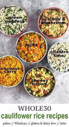 Paleo Cauliflower Recipes, Whole Food Recipes, Vegetarian Recipes, Cooking Recipes, Healthy Recipes, Dinner Recipes, Coconut Cauliflower Rice, Spanish Cauliflower Rice, Cooking Tips