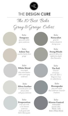 A round up list of our 10 best gray and greige colors by Behr Gray Bedroom Walls, Bedroom Wall Colors, Grey Walls, Bedroom Decor, Farmhouse Paint Colors, Decorating On A Budget, Master Bathroom, Bathroom Ideas, Wordpress