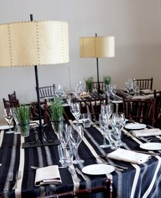 Table linen & centrepice from Table Art. Midnight Stripe overlays, latte stripe napkins, latte underlays, Parchment lamps.  www.tableart.com.au