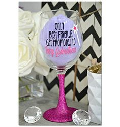 #Only Best Friends Get Promoted to Fairy Godmother, Godmother Wine Glass, Godmother Wine Glass, Glitter Wine Glass, Will You Be My Godmother 20 oz Stemmed Wine G...