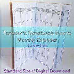 Monthly Planner -- No Grid {Standard Size} Printable Travelers Notebook Insert Booklet // Sunday Start