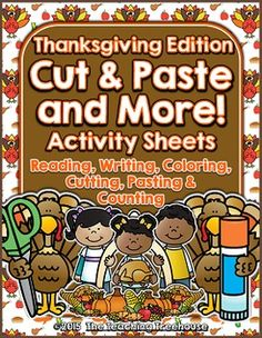 Your students will enjoy learning with these fun Thanksgiving themed printables! Included are 12 activity sheets.  Each sheet has a word theme and utilizes the following skills: reading, writing, coloring, cutting, pasting, and counting!  Included in this set are the following words: cornucopia, cranberry, drumstick, family, Mayflower, Pilgrim, pumpkin pie, stuffing, turkey, vegetable, Wampanoag, and yam/sweet potato. $