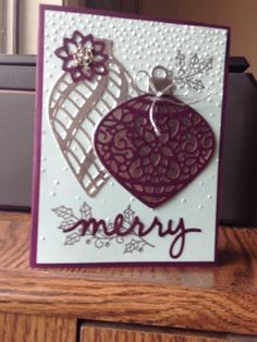 Blackberry/ silver embellished by Arlene Mantle - Cards and Paper Crafts at Splitcoaststampers Christmas Cards 2017, Christmas Paper Crafts, Homemade Christmas Cards, Noel Christmas, Xmas Cards, Handmade Christmas, Homemade Cards, Holiday Cards, Stampin Up Anleitung