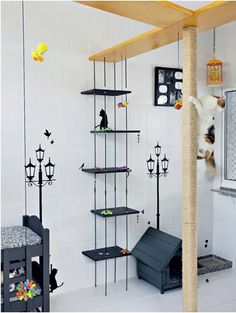 Cats play area: love the climbing scratching pole! #cats