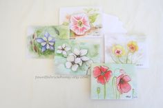 Note Card Set Original Watercolor Prints  Set by PaintFabricWhimsy