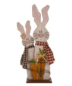 This Wooden Bunny Couple Décor is perfect! #zulilyfinds