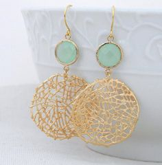SALE Gold Statement Earrings with Mint Green by Greenperidot Bridesmaid Earrings, Wedding Earrings, Gold Earrings, Circle Earrings, Statement Earrings, Drop Earrings, Bridesmaid Gifts, Best Jewelry Stores, Necklace Designs
