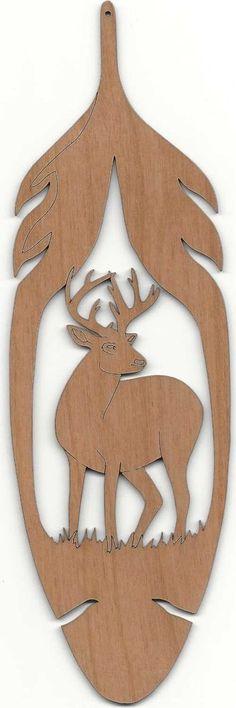 Native American Wooden Feather with Deer Wall Plaque on Alder Wood #Handmade #WallPlaque