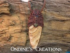Ondines Creations Clay Pendant   Picture Jasper, Green Aura Crystal Quartz Point Mineral Healing Stone Hand Crafted Pendant #107 by OndinesCreations on Etsy