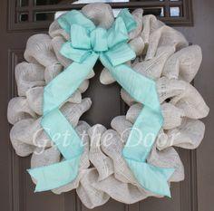 Burlap Wreath, Cream Burlap Wreath, Burlap Wreath with Aqua Bow on Etsy, $50.00