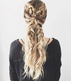 Get intricate with your hairstyle + try out this double half dutch braid ponytail look.