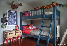 Before & After: A Cute Camping-Themed Kids Bedroom – Boy Room 2020 Boys Bedroom Decor, Blue Bedroom, Bedroom Themes, Bedroom Ideas, Bedrooms, Design Bedroom, Bedroom Furniture, Furniture Sets, Camping Bedroom