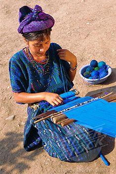 SuperStock - Girl weaving traditional huipil, Santa Caterina Papopo, Guatemala, Central America