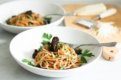 Spaghetti w/ Morel Mushrooms and Miso Brown Butter Sauce