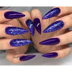 Purple glitter stiletto nails ✨||To see more follow @Kiki&Slim
