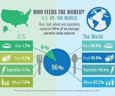 Who Feeds the World? Today is World Food Day, so many farm leaders will be recycling the myth that American farmers feed the world.  Do they?  For major staples like rice, wheat, fruits and vegetables, the truth is that America's farmers produce just 4 percent of the global supply. This graphic, based on data from the authoritative Food and Agriculture Organization of the United Nations, makes that abundantly clear.   EWG