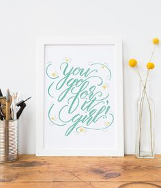 Baby Girl Room Aqua and Yellow Nursery Ideas/You Go For It Girl Hand Lettered…