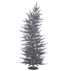 Vickerman 5Ft. Silver 889 Tips Christmas Tree 100 Clear Mini Lights