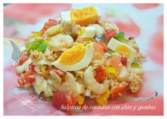 Salpicón de verduras con atún y gambas Appetizer Salads, Appetizers, Vegetarian Recipes, Healthy Recipes, Healthy Food, Latin Food, Sin Gluten, Cobb Salad, Potato Salad
