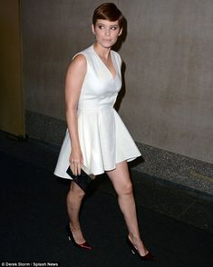 Showstopper: The 32-year-old actress looked stunning in a white frock with red heels...