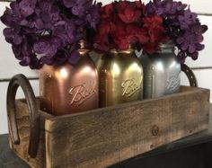 Painted Mason Jars Mason Jar Caddy Wedding by LynxCreekDesigns