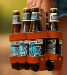 Reusable Leather Beer Carrier