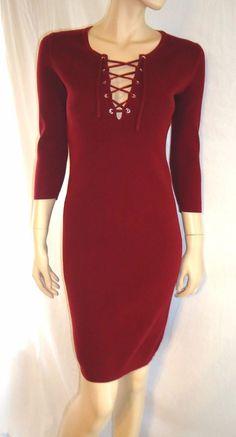 Victoria's Secret Moda International long sleeve lace lie up knit dress size S #ModaInternational #SweaterDress