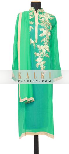Buy Online from the link below. We ship worldwide (Free Shipping over US$100) http://www.kalkifashion.com/featuring-a-mint-georgette-straight-cut-semi-stitched-salwar-kameez-embellished-in-resham-embroidery-only-on-kalki.html