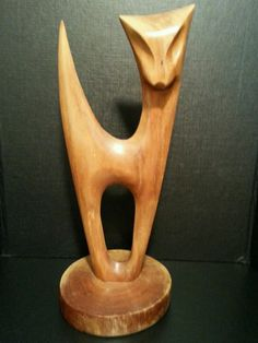 **UP FOR AUCTION** Milo Wood Cat Figure Statue Hand Carved In Hawaii Decoration Feline Collectible FOR BAKER'S RACK