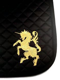 Custom Gold Unicorn - Black Embroidered English Saddle Pad - Optional Monogram All Purpose Cotton Saddle Pad