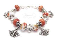 Modular bracelet with bees Pandora Charms, Bees, Handmade Jewelry, Pendants, Bracelets, Earrings, Ear Rings, Stud Earrings, Handmade Jewellery