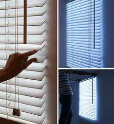 Not enough windows in your downtown shoe-box-sized apartment or favorite basement work space? No worries – we have just the thing: fake-window blinds that turn up the light with a twist, just like the real deal.
