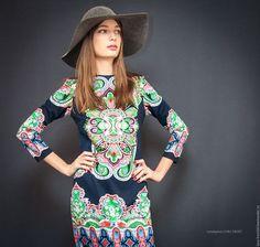 Платья ручной работы. Ярмарка Мастеров - ручная работа. Купить Платье трикотажное. Handmade. Комбинированный, стильное платье, трикотажное полотно