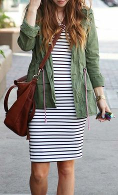 Striped Bodycon + Army Green Jacket